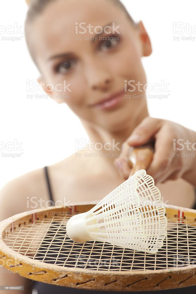 girl with a badminton racket royalty-free stock photo