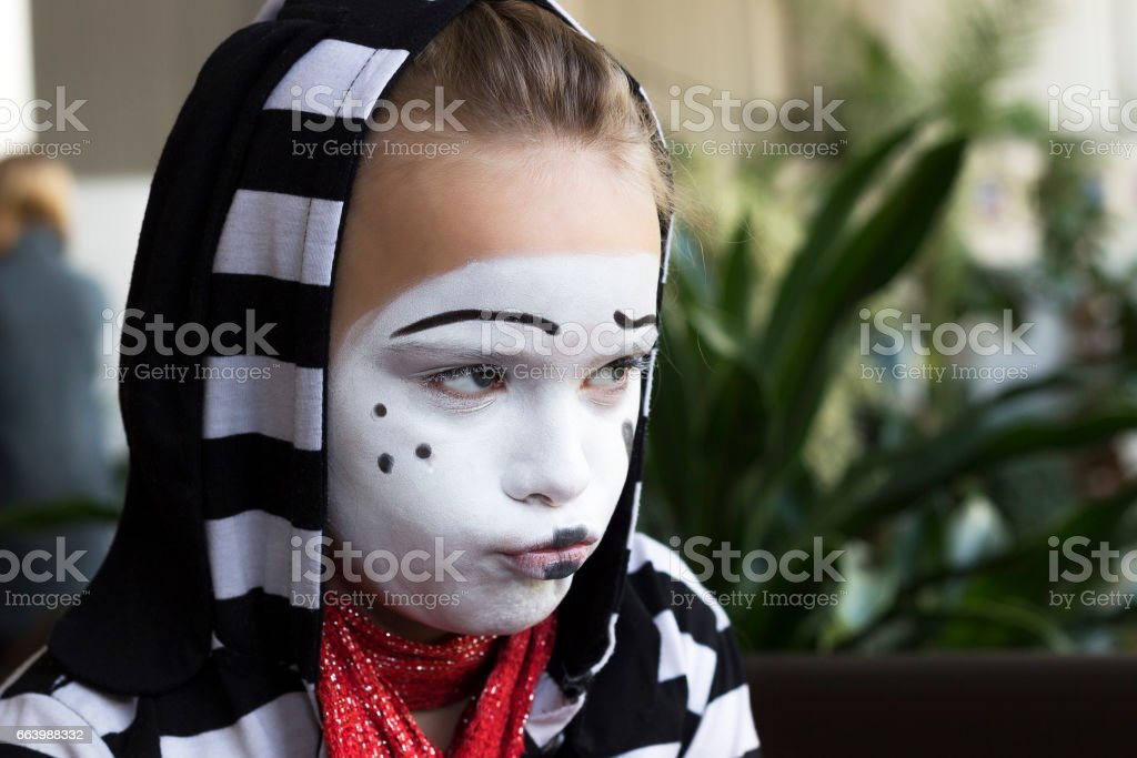 Girl With A Balloon In The Form Of Mime Actor Stock Photo & More