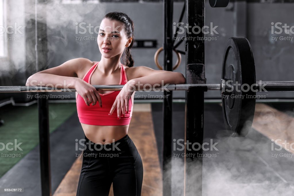 762deaf412804 Girl With A Barbell In A Weightlifting Gym Stock Photo   More ...