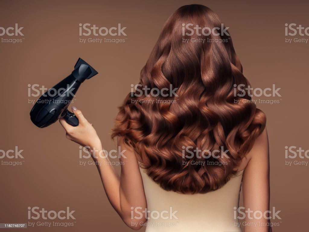 Girl with a beautiful hairstyle holding a hairdryer Girl with a beautiful hairstyle holding a hairdryer Adult Stock Photo