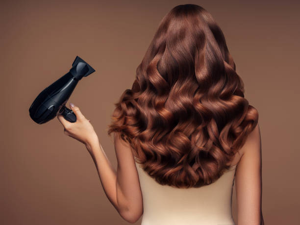 Girl with a beautiful hairstyle holding a hairdryer stock photo