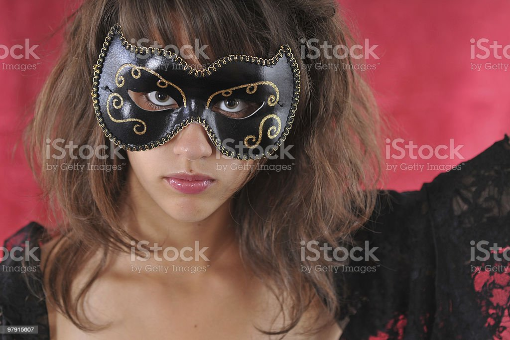 Girl with a black mask royalty-free stock photo