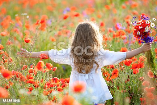 istock Girl with a bouquet of wildflowers with hands spread to sides, Back view 881861946