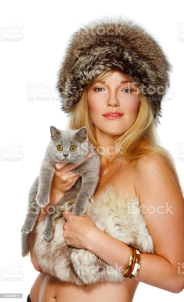 Girl with a cat royalty-free stock photo
