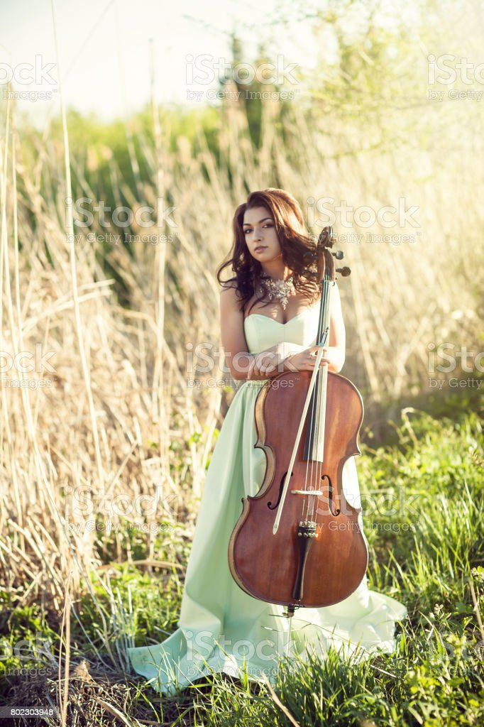 Girl with a cello in a tall grass stock photo