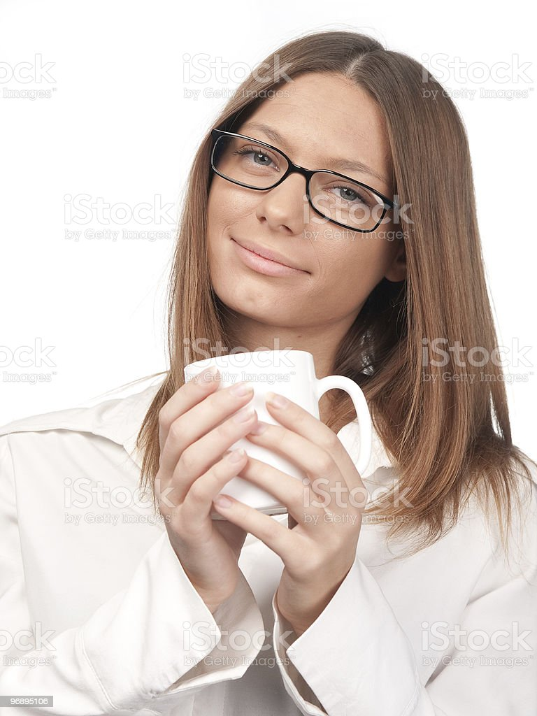 Girl with a cup royalty-free stock photo