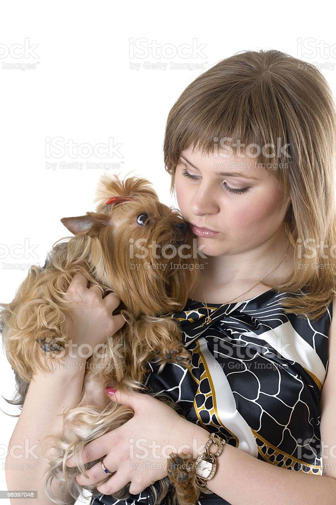 girl with a dog royalty-free stock photo