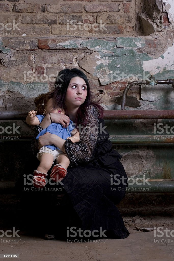 girl with a doll royalty-free stock photo