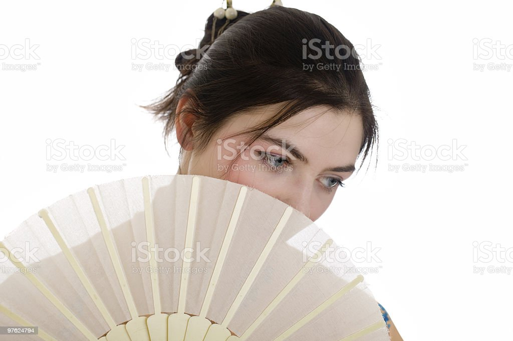 girl with a fan royaltyfri bildbanksbilder