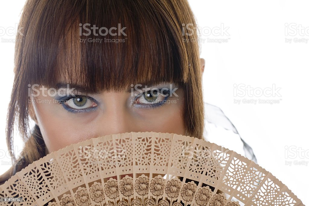 girl with a fan royalty-free stock photo