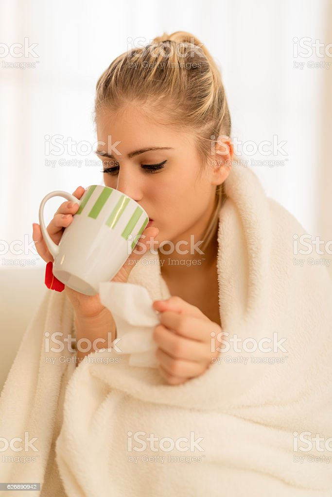Girl With A Fever stock photo