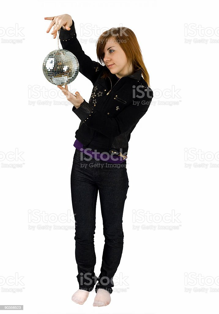 girl with a glitterball royalty-free stock photo
