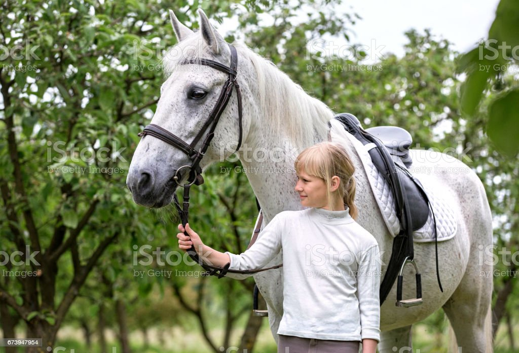 Girl with a grey horse. stock photo