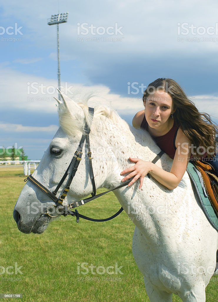 girl with a horse royalty-free stock photo