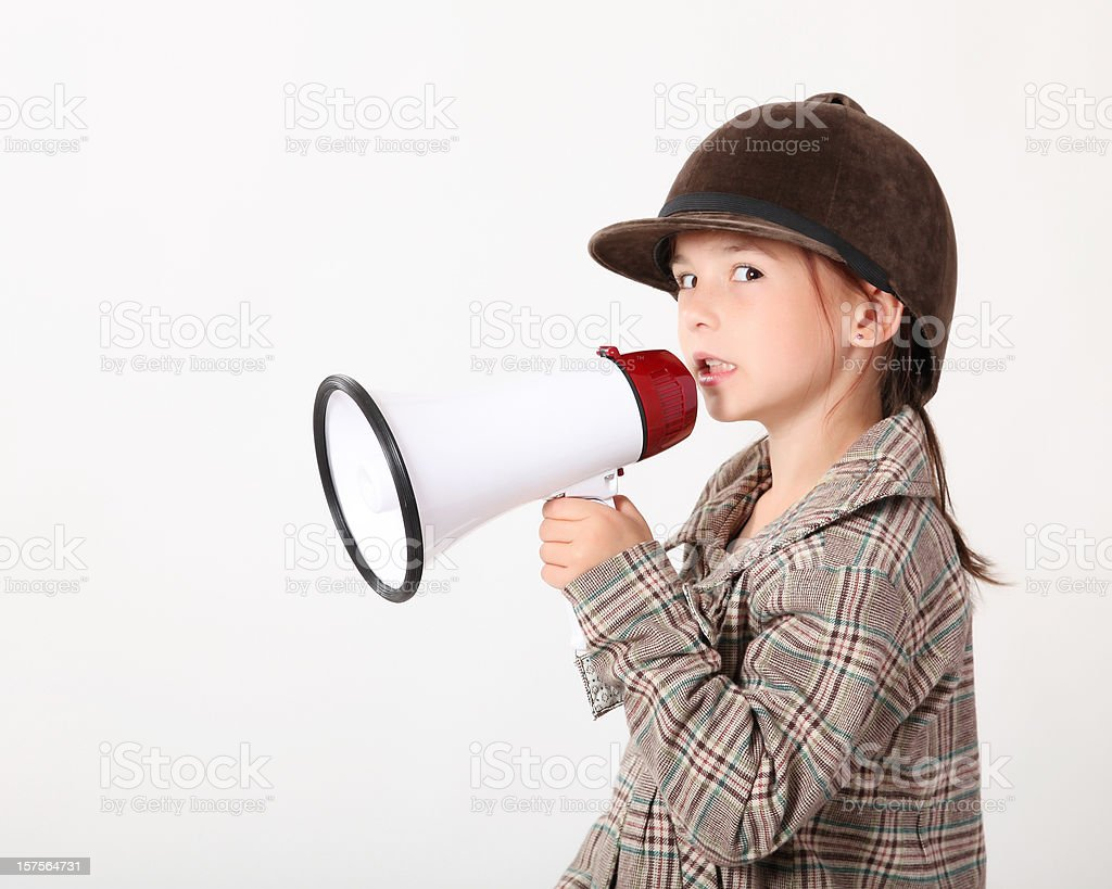 Girl with a megaphone royalty-free stock photo