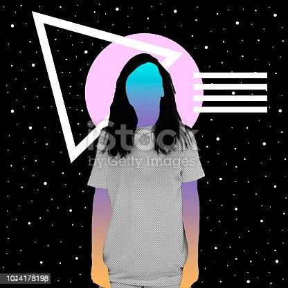 507279130 istock photo A girl with a newspaper texture and a gradient instead of a face stands against the background of space and geometric shapes. 1014178198