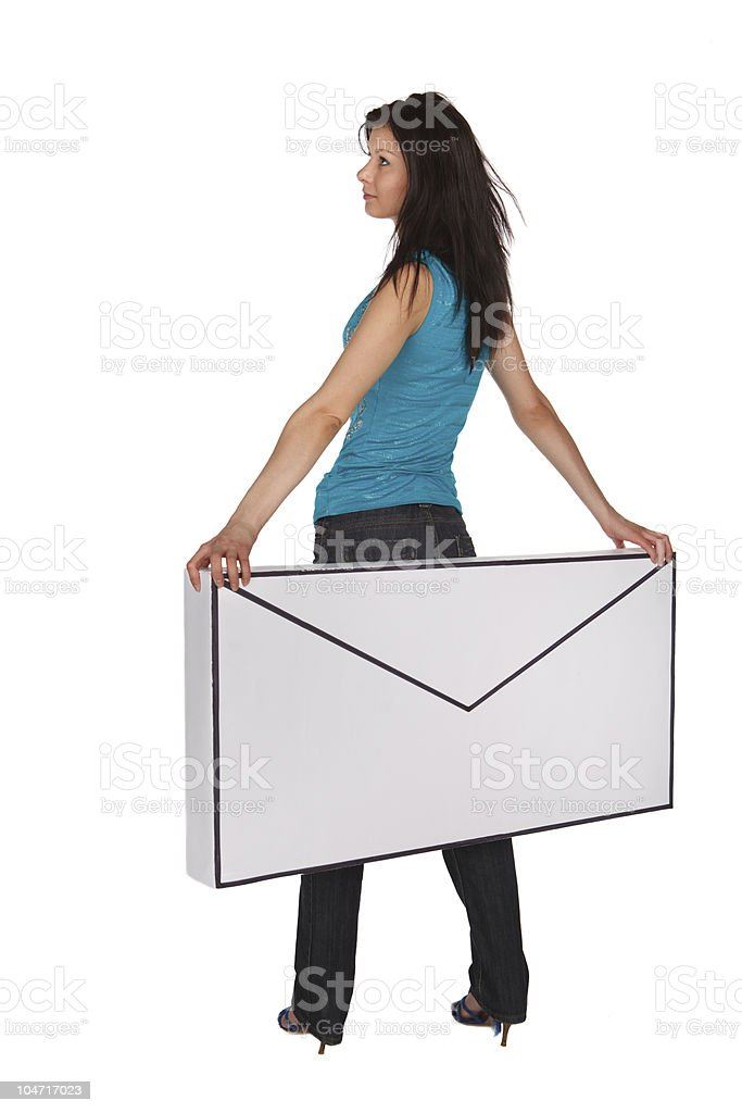Girl with a oversized letter royalty-free stock photo