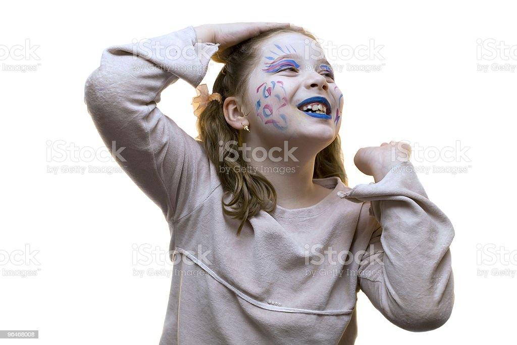 Girl with a painted face royalty-free stock photo