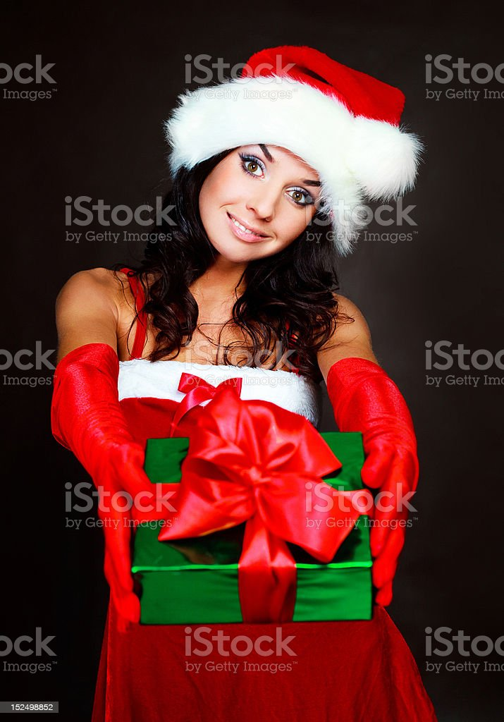 girl with a present royalty-free stock photo