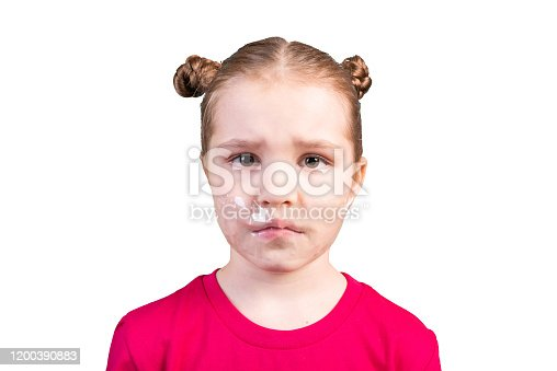 istock Girl with a sealed mouth. Isolated on a white background. 1200390883
