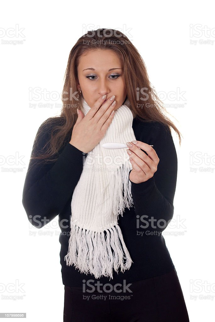 girl with a thermometer royalty-free stock photo