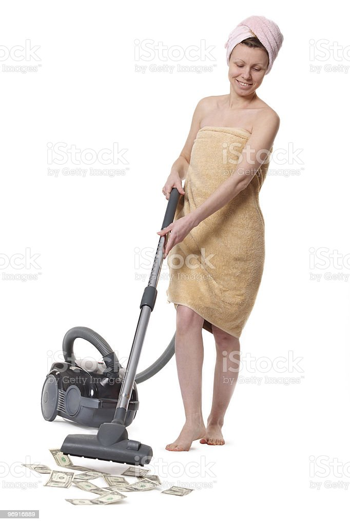 girl with a vacuum cleaner royalty-free stock photo
