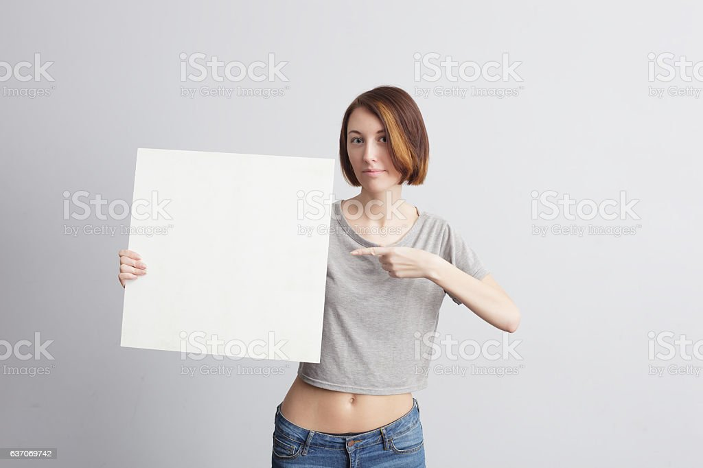 Girl with a white advertising sign.
