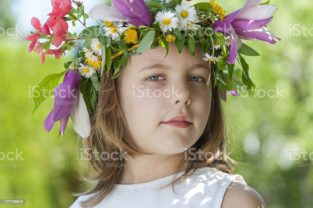 girl with a wreath royalty-free stock photo