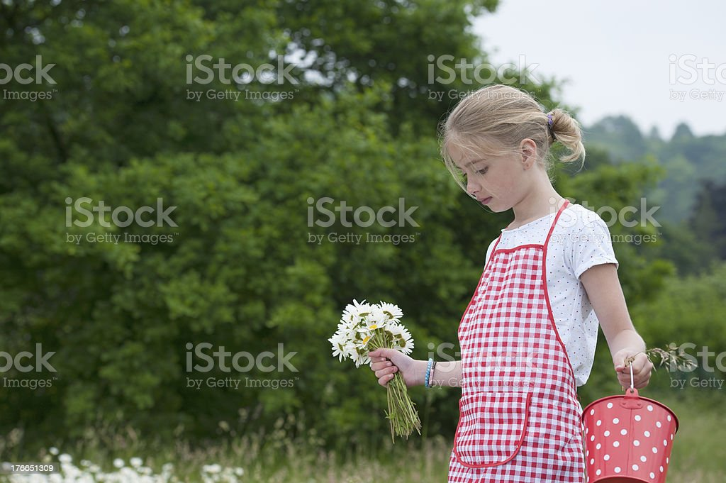 girl with apron and bouquet of daisies outdoors royalty-free stock photo