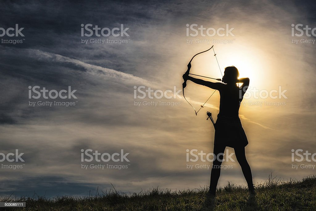 Girl with arc stock photo