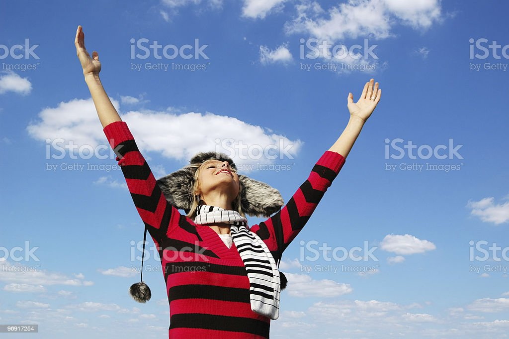 Girl with arms wide open royalty-free stock photo