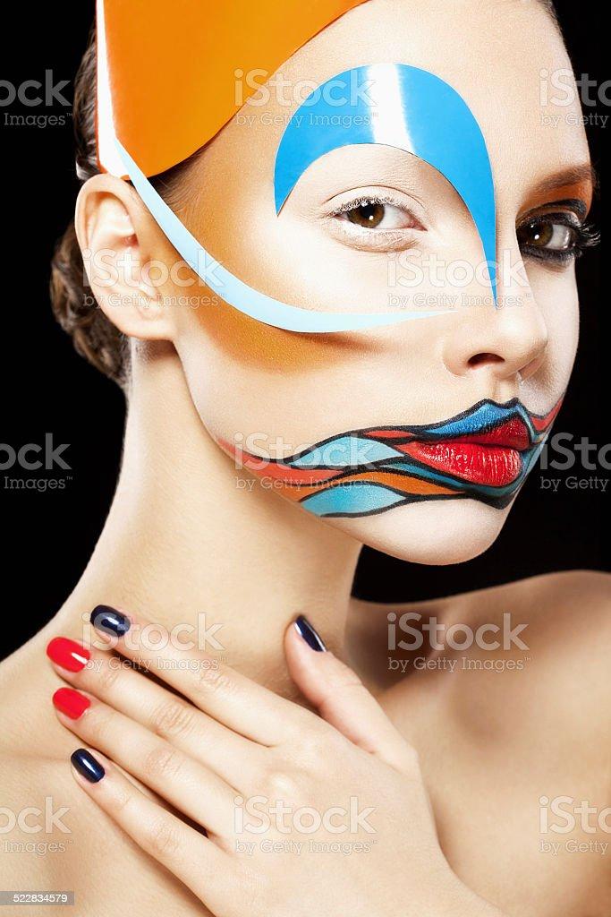 Girl with art makeup stock photo