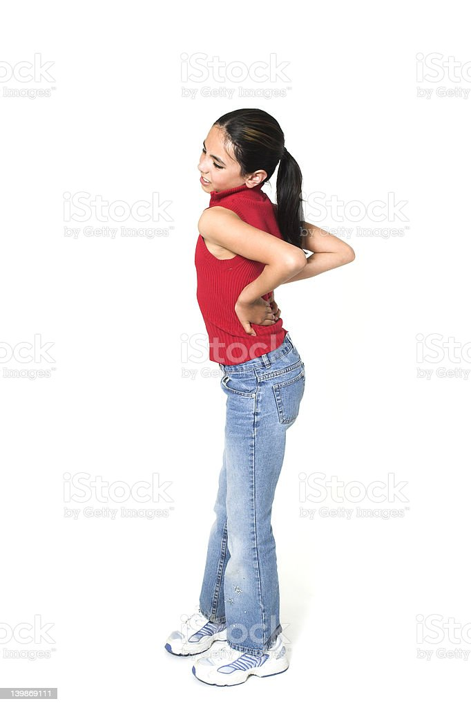 girl with backache stock photo