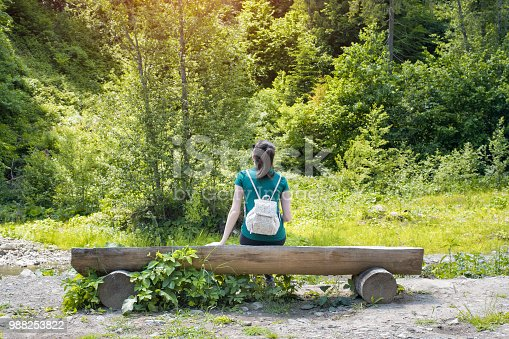 istock Girl with backpack admiring the forest. Back view. Summer sunny day 988253822