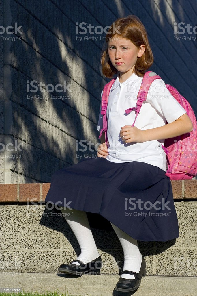 Girl with backpack royalty-free stock photo