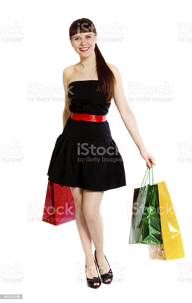 girl with bags royalty-free stock photo