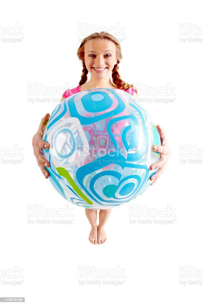 Mädchen mit ball Lizenzfreies stock-foto
