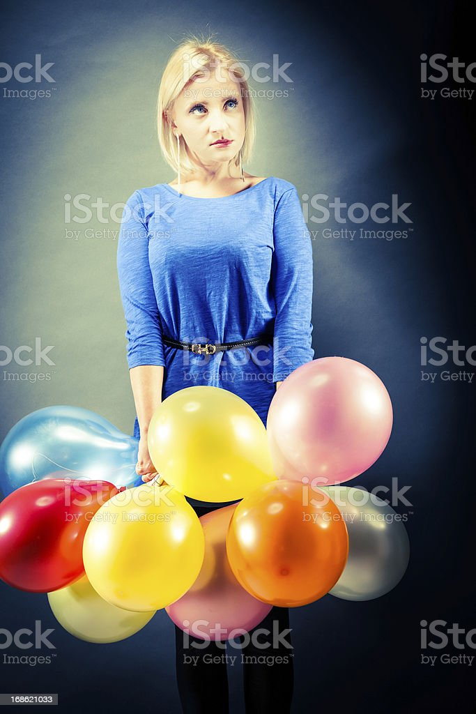 Girl with balloons royalty-free stock photo