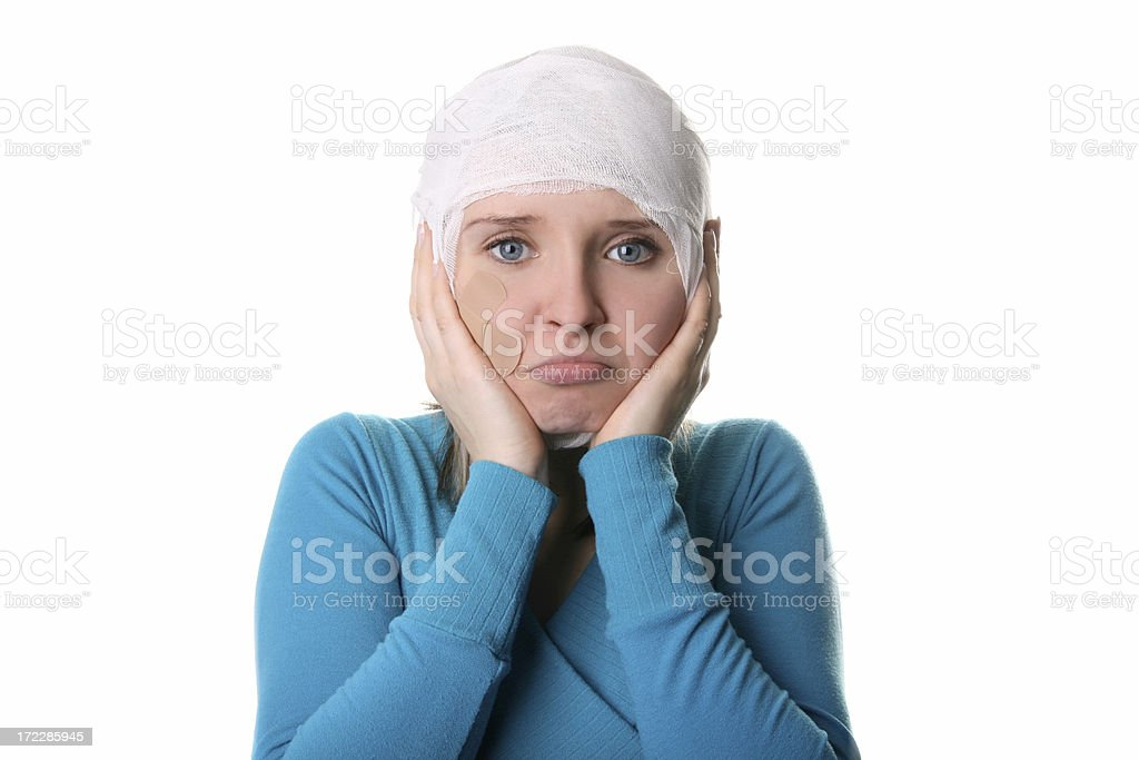Girl with bandage stock photo