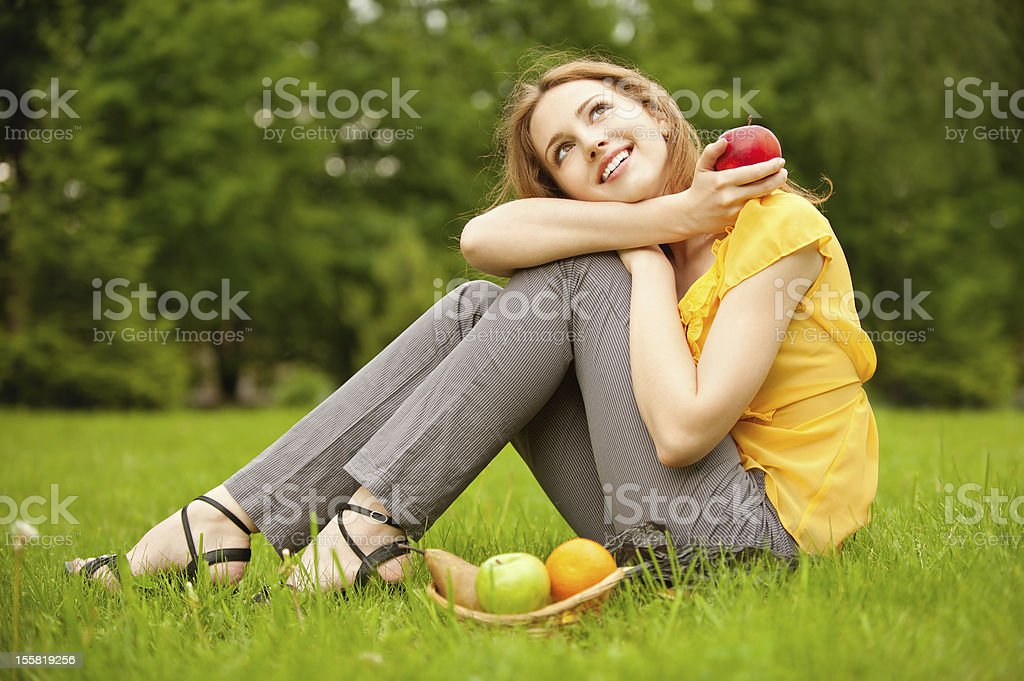 Girl with basket apples royalty-free stock photo