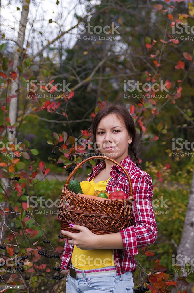 Girl with basket of vegetables stock photo