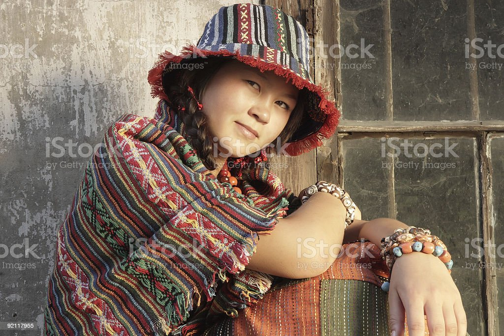 Girl with beads and bracelets. stock photo