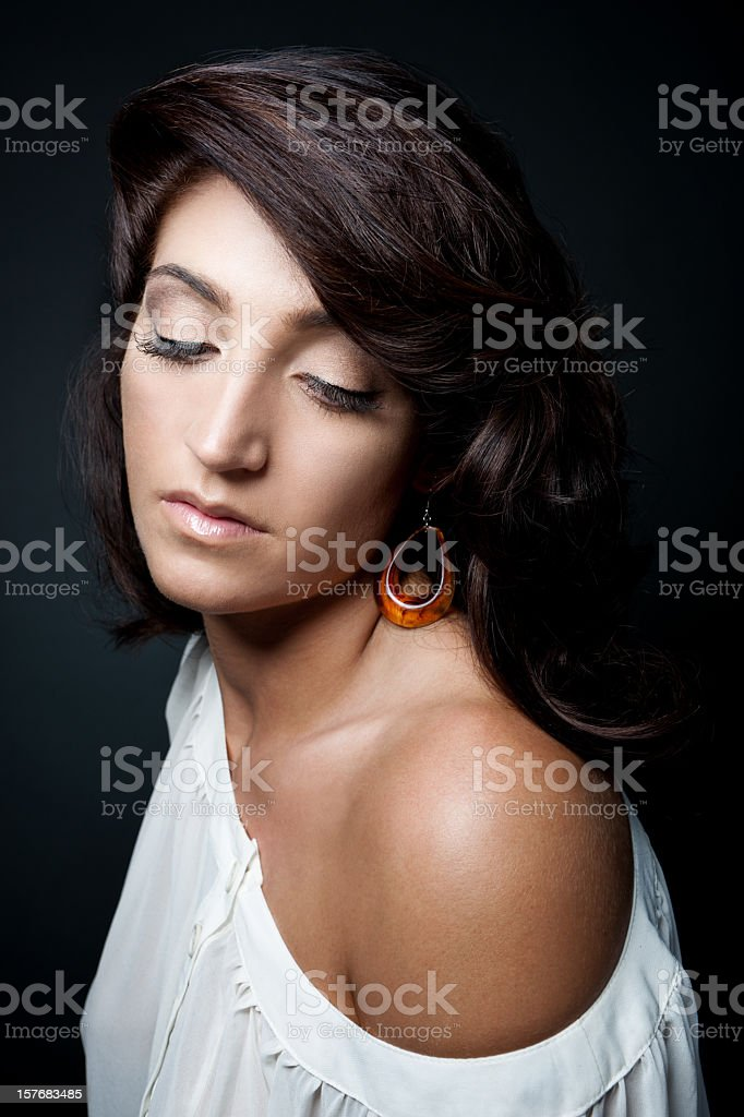 Girl with beautiful brown hair. royalty-free stock photo
