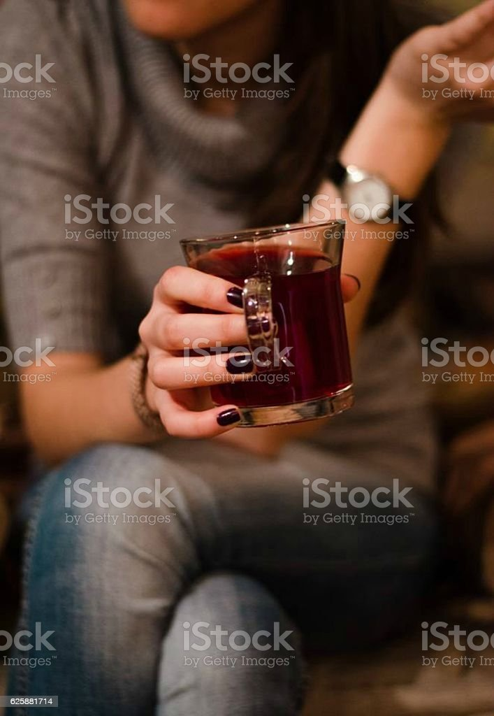 girl with beautiful nails stock photo