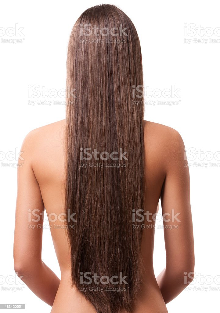 Girl with beautiful natural brown hair royalty-free stock photo