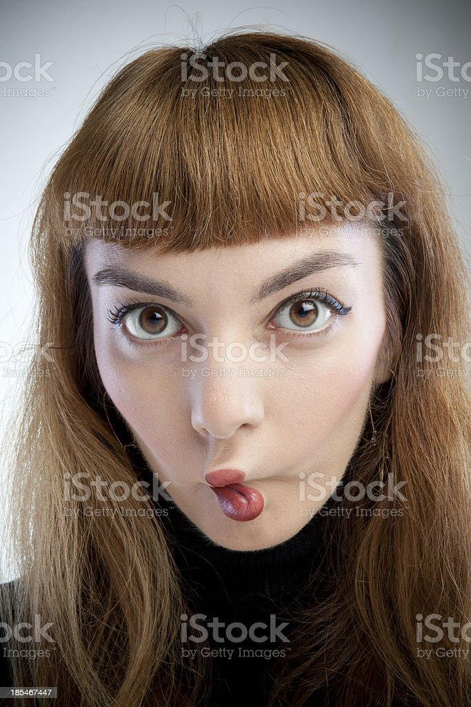 Girl With Bended Lips stock photo