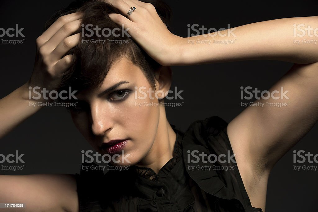 Girl with Black Dress royalty-free stock photo