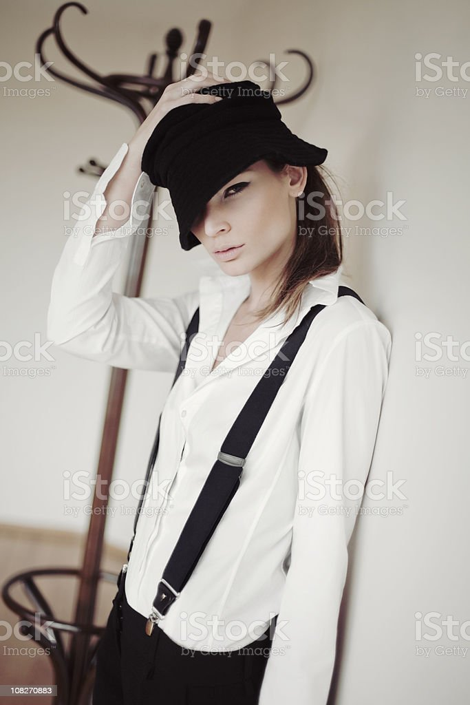 girl with black hat royalty-free stock photo