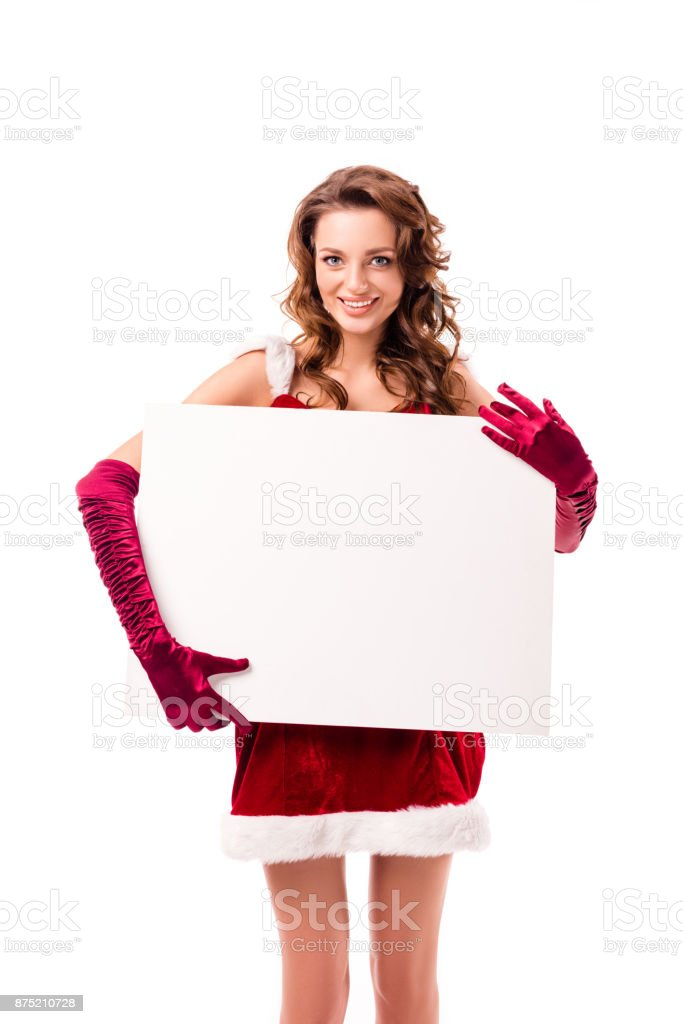 girl with blank board on christmas stock photo