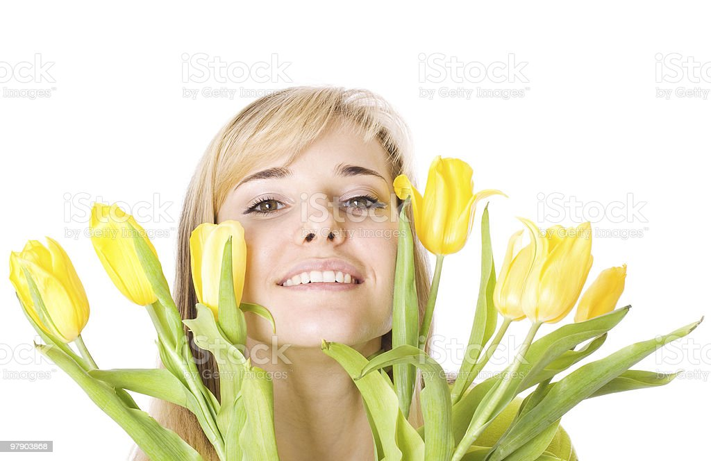 Girl with bouquet of tulips royalty-free stock photo